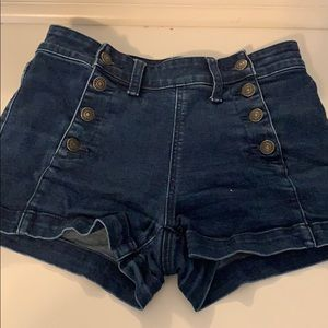 high rise button up jean shorts